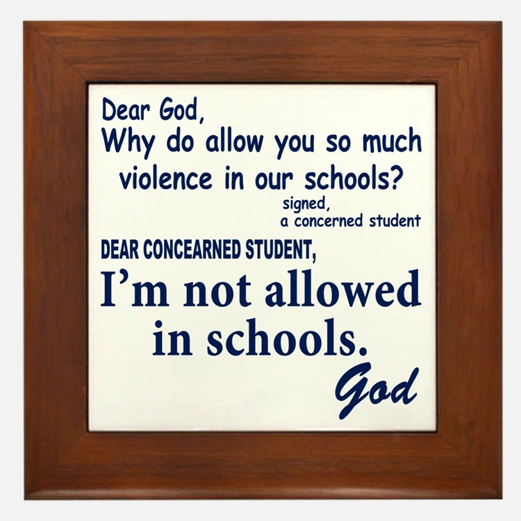 God in school Framed Tile