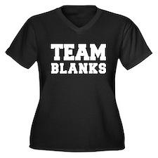 TEAM BLANKS Women's Plus Size V-Neck Dark T-Shirt