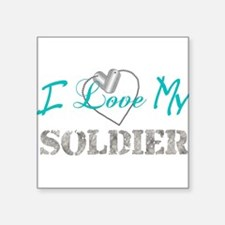 I Heart My Soldier Rectangle Sticker