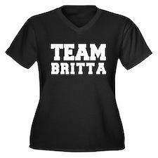 TEAM BRITTA Women's Plus Size V-Neck Dark T-Shirt