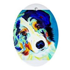 Cute Australian shepherd Ornament (Oval)