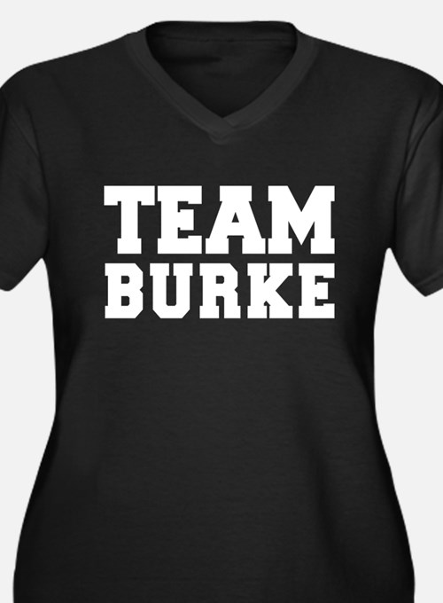TEAM BURKE Women's Plus Size V-Neck Dark T-Shirt