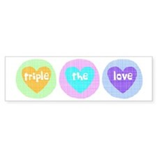Triple The Love Bumper Car Sticker