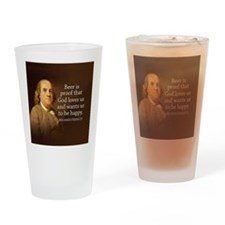 Cute Ben franklin Drinking Glass