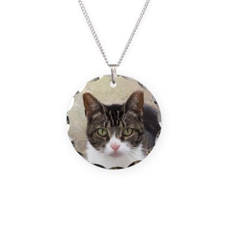 Tabby Cat Stare with Green Eyes Necklace Circle Ch