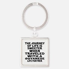 Traveled With Guyanaese Life Partn Square Keychain