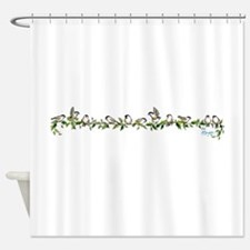 little band of chickadees Shower Curtain