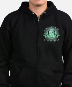 I Wear Teal for Myself Zip Hoodie (dark)