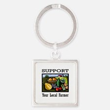 Support Your Local Farmer Square Keychain