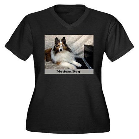 Modern Dog Women's Plus Size V-Neck Dark T-Shirt