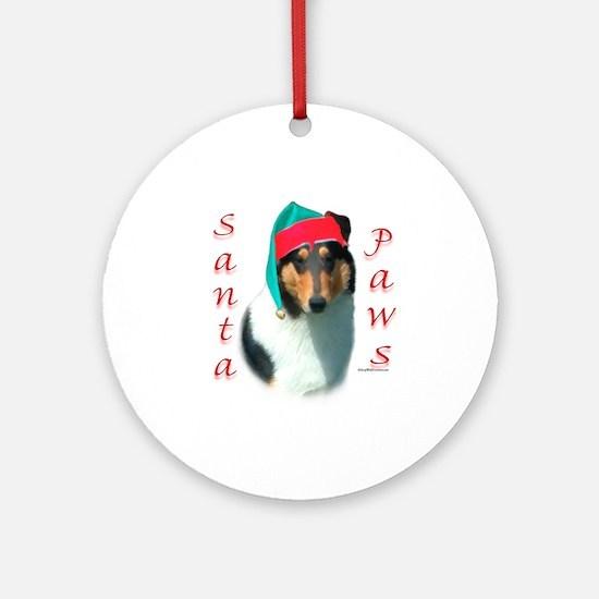 Santa Paws Collie Smooth Ornament (Round)