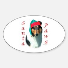 Santa Paws Collie Smooth Oval Decal