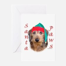Santa Paws Wire Dachshund Greeting Cards (Package