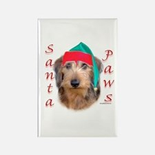 Santa Paws Wire Dachshund Rectangle Magnet