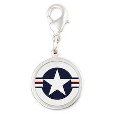 USAF roundel Silver Round Charm