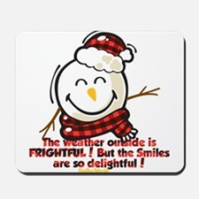 Snow Man Smiley Mousepad