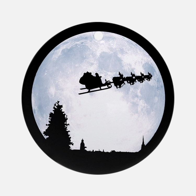Christmas Moon Ornament (Round)