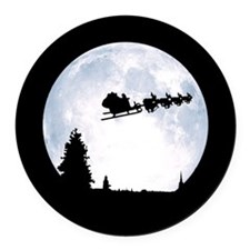Christmas Moon Round Car Magnet