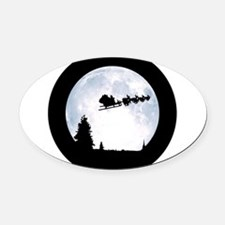 Christmas Moon Oval Car Magnet
