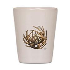 Whitetail Buck Deer Antler Art Cluster Shot Glass