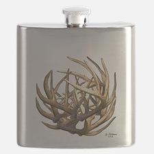 Whitetail Buck Deer Antler Art Cluster Flask