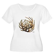 Whitetail Buck Deer Antler Art Cluster T-Shirt
