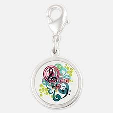 Music Swirl Silver Round Charm