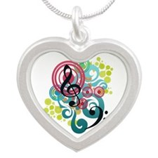 Music Swirl Silver Heart Necklace
