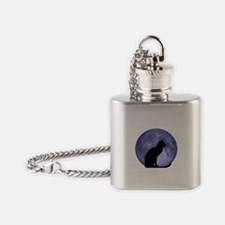 Black Cat, Blue Moon Flask Necklace