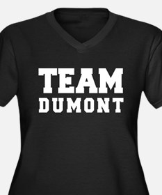 TEAM DUMONT Women's Plus Size V-Neck Dark T-Shirt