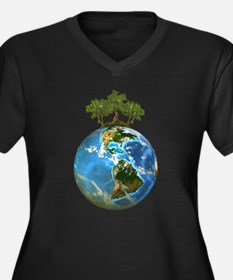 Protect Our Nature Women's Plus Size V-Neck Dark T