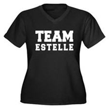 TEAM ESTELLE Women's Plus Size V-Neck Dark T-Shirt