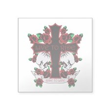 Roses Skulls-Red-Live to Ride Square Sticker 3&quo