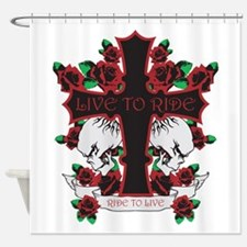 Roses Skulls-Red-Live to Ride Shower Curtain