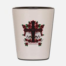 Roses Skulls-Red-Live to Ride Shot Glass