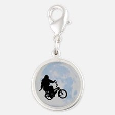 Bigfoot on bicycle Silver Round Charm