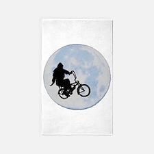 Bigfoot on bicycle 3'x5' Area Rug