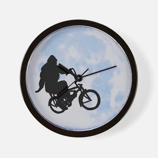 Bigfoot on bicycle Wall Clock