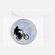 Bigfoot on bicycle Greeting Card
