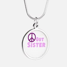 Peace Out Sister Silver Round Necklace
