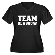 TEAM GLASGOW Women's Plus Size V-Neck Dark T-Shirt