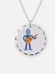 Guitar Robot Necklace Circle Charm