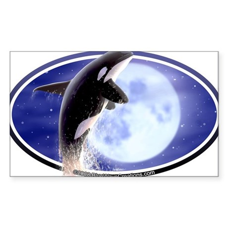 Orca Moon Killer Whale Decal Oval Sticker
