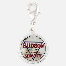 Hudson Service Sign Silver Round Charm