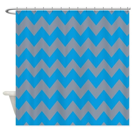 cool gray and blue chevron shower curtain by
