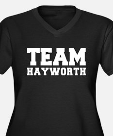TEAM HAYWORTH Women's Plus Size V-Neck Dark T-Shir