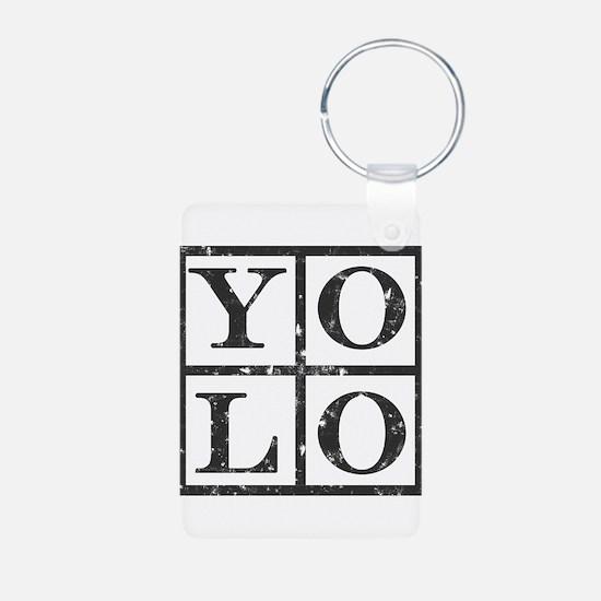 Yolo Distressed Aluminum Photo Keychain