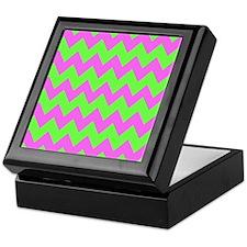 Hot Pink and Lime Green Chevron Keepsake Box