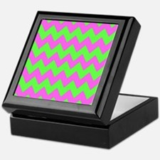 Hot Pink and Lime Green Chevron Keepsake Box