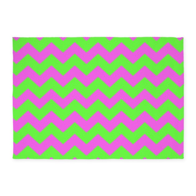 Lime Green Grey Area Rug: Hot Pink And Lime Green Chevron 5'x7'Area Rug By